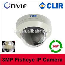 ONVIF 3.0Megapixel fisheye lens 360 degree IP Camera