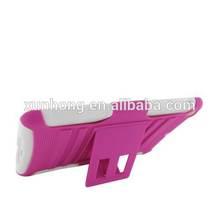 J1092 For ipad mini Rhino Kickstand Hard Cover Rubber Case Accessory hot pink +white