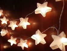 WHITE STAR CUTE STRING LIGHTS 20 PARTY,PATIO,FAIRY,DECOR,CHRISTMAS,BED KID ROOM