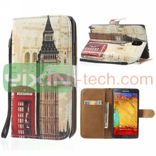 Hot Big Ben Pattern Box Style Case For Samsung Note 3 Leather Case