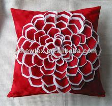 red velvet fabric 3D flower cushions wholesale