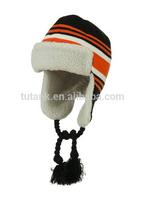 Contrast Jacquard Striped Knit Ski Hat - Black Orange