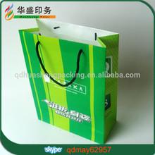 Popular custom glossy green paper bags