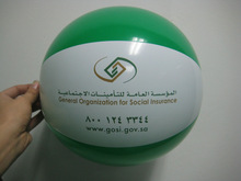 Green&white 30cm inflatable beach ball toy with logo printing
