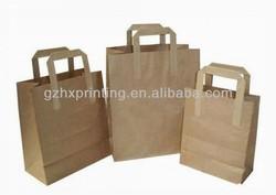 Flat Handle Brown Kraft Paper Handle Grocery Shopping Bag