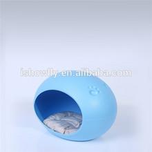 Egg shape pet plastic dog beds with cushion inside