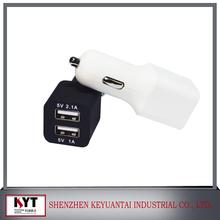 Nice design dual usb dc 12v-24v input 5V 2.4A+1A double usb charger 3a