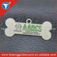 Popular Great Design Dog Tag Printer Silver Plated Sand Surface Bone Shaped Metal Dog Tag