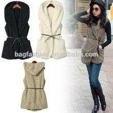 Faux Lamb Fur Long Vest long jacket for woman Coat With Belt