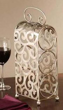 home decor bar furniture tabletop 3 bottles holder metal storage w/handle wrought iron wine rack