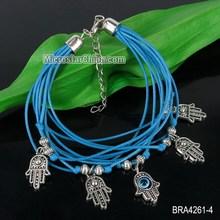 Blue hand of fatima charms platinum charm bracelet