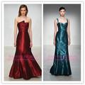 2014 el último diseño de alta calidad baratos hecho a la medida de china sin mangas imperio rojo sin tirantes azul largo tafetán vestidos de dama de honor
