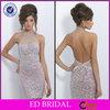 EDE337 Bling Sequins Crystal Halter with Short Length Backless Evening Dress