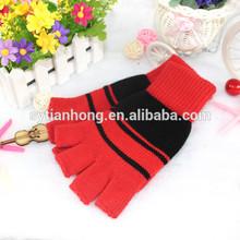 2014 new fashion Korean winter knit gloves kids double gloves striped children warm jacquard gloves wholesale