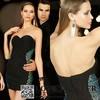 Affordable Sweetheart Beaded Sheath Black Chiffon Cocktail Dress Short Fashion 2015