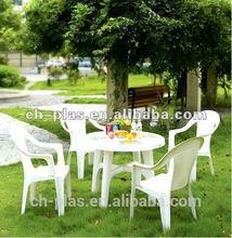 2014 New design table 6pc white plastic outdoor furniture