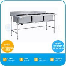 Industrial Kitchen Sinks Stainless Steel - 3 Sinks, AISI201, 4 Legs, 30Kg, L 1500, TT-BC301A-1