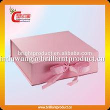 Custom handmade luxury gift box packaging/pink paper box with ribbon/bowknot