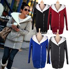 Women black gray hoodie Coat Zip Up Outerwear Sweatshirts