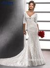 ZYX-259 Sheath V Neck Half Sleeve Lace Wedding Dresses Alibaba 2014
