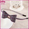 Simples bow verificado tecido headbands para cabelo curto