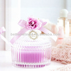 hand made clear glass candle holder with lid for home decro
