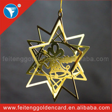 2015 Jingle Bell Popular Hanging Gold Plating Brass Holiday Decortion for Xmas Tree