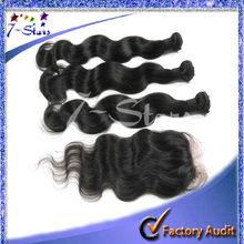 4pcs/lot Body wave 100% Virgin Indian human hair 5X5 silk base lace closure bleached knots with 3pcs hair bundles