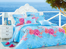 Fresh flower design comfortable high quality pure cotton reactive printed bed sheet branded