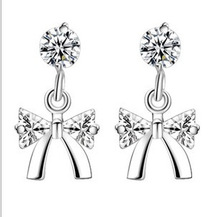 925 silver jewelry wholesale manufacturers Korean disorder recent Lovely bowknot eardrop of zircon