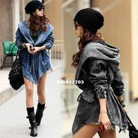 Cool Fashion Women Wind Denim Hoodie Outerwear trench coat 2014
