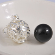 Global popular fashionable copper with silver plated cages black chime bola ball maternity bola ball pendants H41A08-B