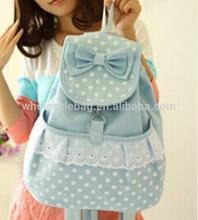 2014 Wholesale Summer In Stock Bowknot Lovely Korean Backpack Bag School Bag Canvas Knapsack Rucksack for Girls MOQ 10pcs