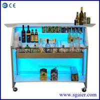 Best selling folding led portable bar with wheels for club