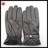Men warm winter fashion black genuine sheepskin leather glove with elaticity