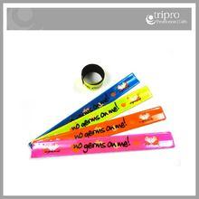 Custom printed promotional reflective pvc wristbands, pvc slap bands