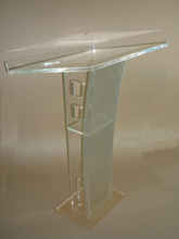 Square Top Acrylic Lectern Small Round Floor Acrylic Lectern with Pillar