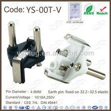 16a germany plug ( Three Pole plug part , 4.8MM right angle 3 pin plug )