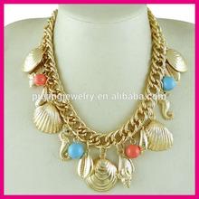 Heavy feeling ocean item shape multiple pendants necklace,sea chunky statement collares