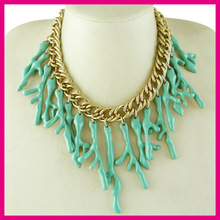 Multi coral pendant short chain necklace,latest ocean series products in market