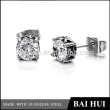 In Stock & Custom & Wholesale Stainless Steel Antique Zircon Men's Stud Earrings