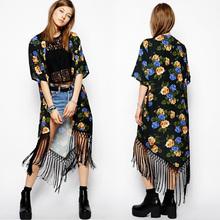 Summer Ladies vintage Boho Floral Tassels maxi kimono coat Cardigan blouse SV004979