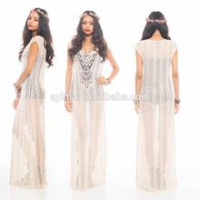 fashion woman crochet maxi dress sleeveless hippie boho gypsy crochet lace sheer ivory handmade crochet dress pattern
