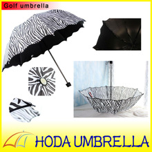 Black and white European style leopard stripe printed three folding strong UV protect umbrella with black coating