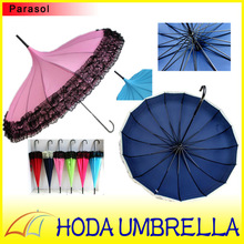 16 panel 2015 new model steel frame sun UV protection gothic pagoda umbrella with newest dress design for wedding and girls in b