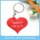 sweet heart custom pvc rubber heart keychain