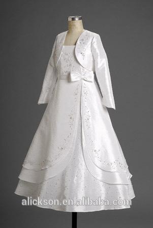 2 pedaço de manga longa multi- camada de belo vestido de primeira comunhão 2014