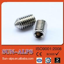 DIN914/DIN916 high-strength Hex socket cup point set screw,cone point set screw,flat point aluminum set screw