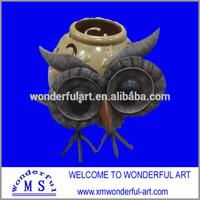 elegant design metal owl with stoneware pot for garden decoration