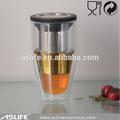 Ast3501-400cc 13.51oz chá infuser de vidro copos! Mercado japonês chá copos conjunto infusor de aço inoxidável e made in china copo de vidro